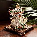 ExclusiveLane Terracotta Handpainted White Ganesha With Sheesham Ghunghroo Chowki
