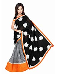 Dancing Girl Black Georgette Embroidered Saree