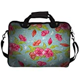 """Snoogg Red Flower Pattern 12"""" 12.5"""" 12.6"""" Inch Laptop Notebook SlipCase With Shoulder Strap Handle Sleeve Soft..."""
