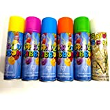 5-Colorful Crazy Ribbon SPRAY With FREE 1-Snow Spray (White) : With Good Fragrance
