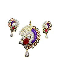 Poddar Jewels Cubic Zirconia Stylish Purple Meena / Red Pendant Set