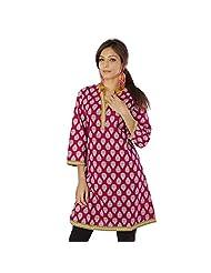 Jaipur RagaJaipuri Floral Designer Hand Block Printed Girls Magenta Cotton Kurti