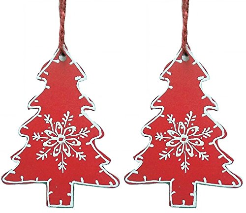 Purpledip Wooden Christmas Tree Decoration, Set Of 2 (4 Inches)