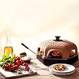 Elektrischer Pizza Ofen mit Backplatte, Terrakotta-Haube, 1200Watt, Pizza direkt am Tisch backen, für leckere, knusprige Minipizzen mit besonderem, italienischem Flair -