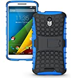 Chevron Tough Rugged Hybrid Dual Layer Protective Back Cover Case For Moto X Style (Blue)