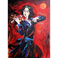 "Violinist Woman Hand Painted Canvas Painting Painting (18"" X24"") [UNFRAMED]"