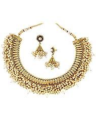 YoFashion Festive Choker 22K Gold Plated Pearl Necklace Earring Set For Women