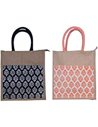 ABV Lunch Bag, Jute Bag, Gift Bag, Multi Purpose Bag, Combo Of Black And Peach Printed Bag-Pack Of 2 With Zip