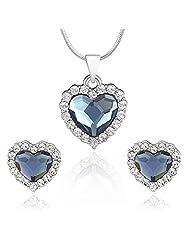 Mahi Rhodium Plated Montana Blue Titanic Heart Pendant Set Made With Swarovski Elements For Women NL1104118RBlu...