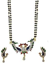 Zeneme Peacock Design American Diamond Gold Plated Mangalsutra Earring Jewellery For Women