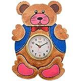 ECraftIndia Kids Wooden Wall Clock (22.5 Cm X 1.25 Cm X 32.5 Cm, Brown And Blue)