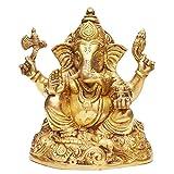 Indian Arts Shop Sitting Ganesha Brass (8.64 Cm X 12.19 Cm X 16.26 Cm, )
