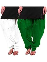 Women's WHITE-GREEN Cotton Patiala Salwar