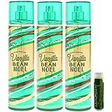 Bath & Body Works VANILLA BEAN NOEL 8 Oz. Body Mist With A Jarosa Bee Organic Natural Peppermint Lip Balm