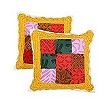 Dazzling Set Of 2 Cushion Cover Chevron Yellow 16 X 16 Cotton Pillow Cases