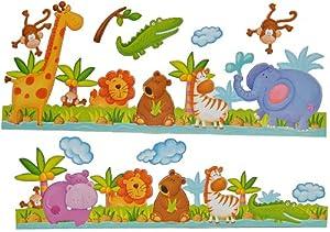 2 tlg. Set Wandtattoo / Sticker Borte - Giraffe Zootiere