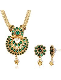Poetry Accessories Pearl Jewellery Set For Women (Gold) (PMNE-032)