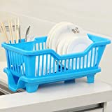 Home Kitchen Dish Drainer Rack Drying Tray Sink Holder Basket Organizer (Blue)