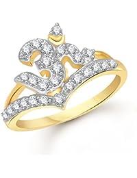 Meenaz Om Fancy Ring For Girls & Women Gold Plated In American Diamond Cz FR00431