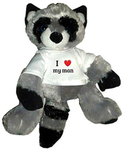 Plush Raccoon Toy in I heart my man t-shirt