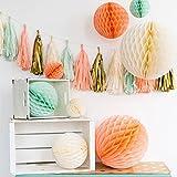 Generic Dark Green, 10inch 25cm : Mixed Size 10/15/20/25/30cm Decorative Colorful Flower Paper Lantern Honeycomb...