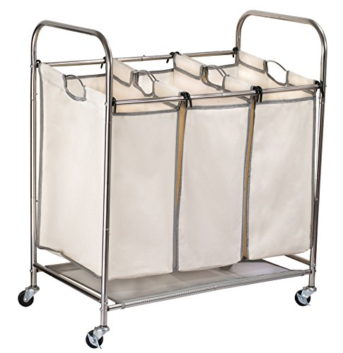 Triple Laundry Sorter on Wheels