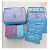 Tune Up Packing Cubes Travel Organizer Mesh Bags Value Set For Durable 6 Piece Weekender Set (Light Blue)