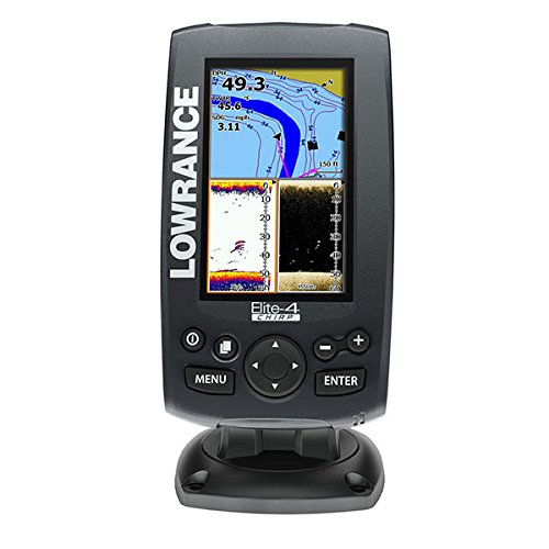 Lowrance 000-11816-001 Elite-4 Fishfinder/Chartplotter with Navionics, 50/200KHz CHIRP and 455/800KHz DownScan Transducer