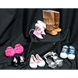 7 Pair Shoes, Boots & Footwear Set For American Girl Or Other 18 Inch Dolls! Plus Free Skin, Hair & Care Guide!