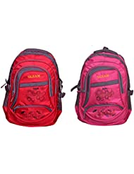 GLEAM PINK & RED POLYESTER SCHOOL BAG (set Of 2 Bags)