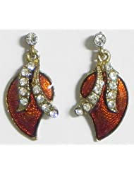 Lacquered Metal Stone Studded Leaf Earrings - Stone And Metal