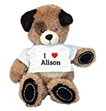 Brown Plush Dog. Toy with I heart Alison t-shirt (first name, last name, nickname)