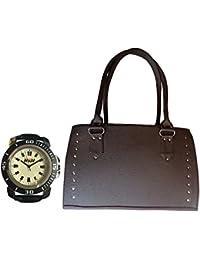 H&H Women HandBag + Watch Combo - Sporty Dark Brown Handbag + Sporty Watch Black