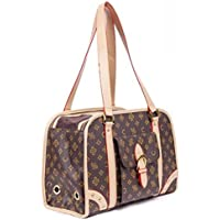 Lovely Summer New PU Leather Dog Carrier Pet Bag Tote Puppies Handbag Cate Cage Doggy Purse (Brown Large)