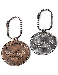 SAVON 2 Round Metal Keychains Combo Pack White And Bronze Rust Gun Metal Finish