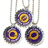 Football Fan - Purple And Gold School Colors - Set Of 3 Necklaces