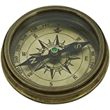Shalinindia Antique Inspired Design -Royal Navy Compass With Leather Case-2 Inches-Travel Accessories