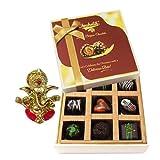 Chocholik Belgium Chocolates - 9pc Soft And Sweet Dark Chocolate Box With Ganesha Idol - Diwali Gifts