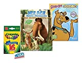 Ice Age and Sooby-Doo Coloring & Activities Book and 16 Crayola Crayons Box (Pack of 3)