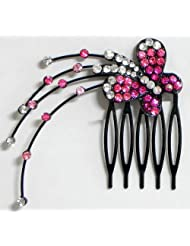 Magenta And White Crystal Studded Butterfly Hair Comb - Stone And Metal