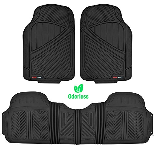 MotorTrend FlexTough Baseline – Heavy Duty Rubber Floor Mats (Black)