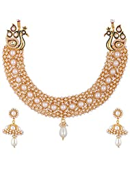 Lucky Jewellery White And Maroon Gold Plated Jewellery Set For Women