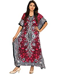 Exotic India Printed Kaftan With Dori On Waist And Floral Motifs