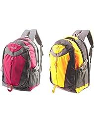 GLEAM Trendy Multicolour School Bag ( PINK & ORANGE ) Set Of 2 Bags