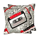 House This Gadgets-Cassette Red Set Of 2 Cushion Covers- 16 X 16