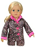 18 Inch Doll Clothes Pajama Set & Doll Slippers, 3 Pc. Set Fits 18 Inch American Girl Dolls and More! Stylish Matching Slippers and Doll PJ's in Satin Animal Print