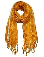 Boun Fashions Yellow & White Color Viscose Stripes Scarf/stole For Women