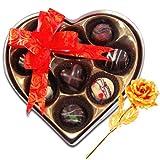 Valentine Chocholik Premium Gifts - Love Majestic Choco-treats With 24k Gold Plated Rose