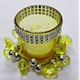 BEAUTIFUL GIFT WRAPPED FESTIVE YELLOW GLASS T- LIGHT HOLDER WITH BEAUTIFUL DECORATIVE RING