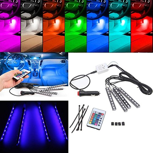 Ecosin® 4Pcs 9LED Remote Control Colorful RGB Car Interior Floor Decorative Lights Strip